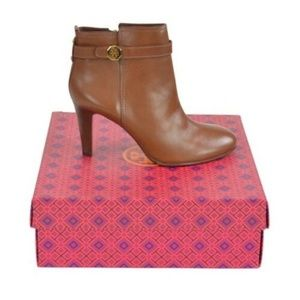 Tory Burch Brita Brown Leather Booties
